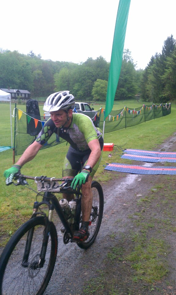 Finishing my first MTB race, the 2013 Wildcat 100k.